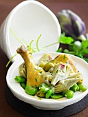 Chicken, broad bean, artichoke and green olive Tajine