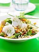 Kabeljau auf Gemüsereis mit Ackerbohnen und Möhren