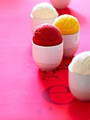 Scoops of different flavored sorbets