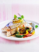 Grilled swordfish with pan-fried southern vegetables