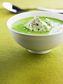 Broad bean soup with mascarpone