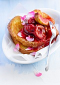 French toast style-brioche with plums,cherries and figs