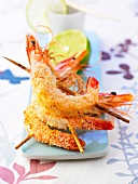 Shrimp brochettes coated in grated coconut