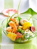 Sweet and savoury shrimp,broad bean and exotic fruit salad