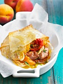 Pastilla-style foie gras,tomatoes and apricots in crisp pastry