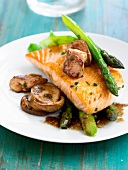 Salmon with pan-fried fresh foie gras,green asparagus and ceps