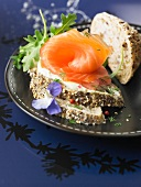 Sliced granary bread with smoked salmon