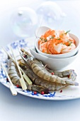 Whole raw gambas and cooked shrimps
