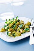 Pan-fried diced zucchini with herbs