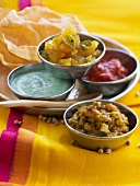 Selection of Indian saces and chutneys