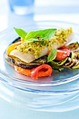 Hake in green crust with grilled vegetables