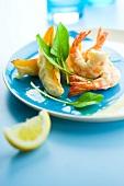 Shrimp and pumpkin tempuras