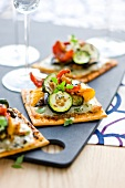 Grilled vegetable square tartlets