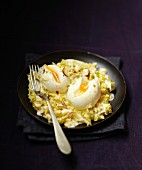 Braised green cabbage with hazelnuts and soft-boiled eggs