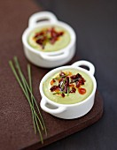 Broad bean puree with dried chorizo