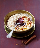 Rice pudding with caramel syrup