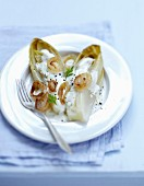 Steam-cooked chicory with gorgonzola