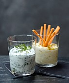Fromage frais with herbs and Fromage frais with carrots and curry