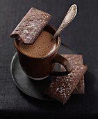 Hot chocolate with dark chocolate shortbread cookies