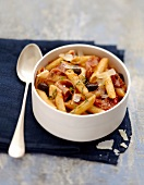 Penne with black olives,raw ham and sun-dried tomatoes