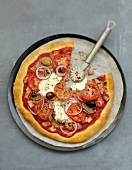 Tomato,mozzarella and black olice pizza