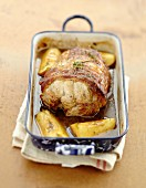 Roast pork with apples and cider