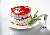 Fromage frais with herbs and red pepper timbale