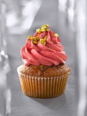 Rose water, honey and pistachio cupcake