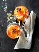 Citrus fruit in star anise-flavored jelly