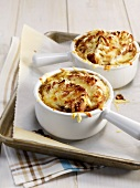 Individual traditional French onion soup