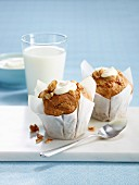 Pear,cereal and dried fruit muffins