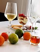 Tiramisu and fruit on a table