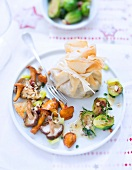 Brussels sprout filo pastry purse with sauteed mushrooms