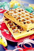 Carnaval chocolate chip waffles