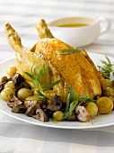 Roast chicken with mushrooms and sauteed potatoes