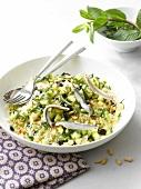 Semolina, zucchini, pine nut and anchovy salad