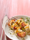 Monkfish,peach and thyme brochettes