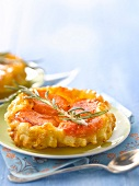 Apricot and rosemary tatin tartlet