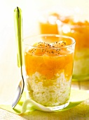Rice pudding with stewed yellow fruit