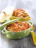 Tuna,pepper,tomato and onion casserole