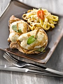 Veal Saltimbocca with mozzarella, eggplant and basil