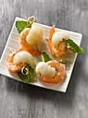 Shrimp,lychee and mint appetizers
