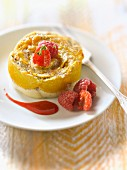 Peach and raspberry upside-down dessert