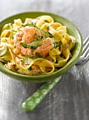 Tagliatelles with Dublin Bay prawn tails and green asparagus tops
