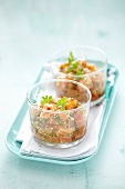 Salmon tartare with sesame seeds and herbs