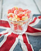 Acidulated sweets and an English flag