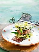 Grilled eggplant and lamb burger