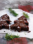 Chocolate Christmas trees with pink peppercorns
