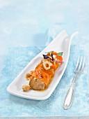 Foie gras with pumpkin, swett potato and potatoes
