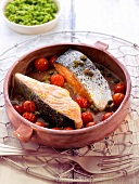 Roasted salmon with cherry tomatoes and capers